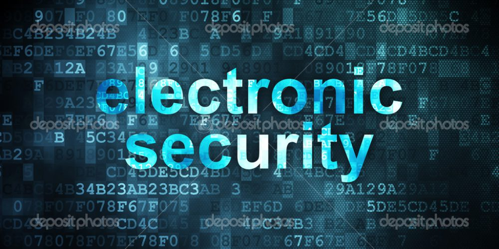 Privacy concept: pixelated words Electronic Security on digital background, 3d render